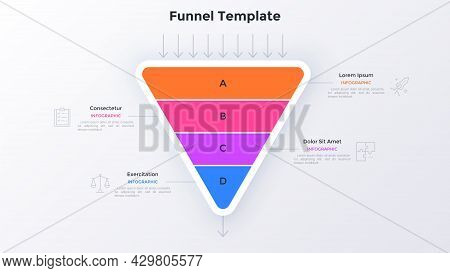 Triangular Funnel Chart Divided Into Four Colorful Parts And Arrows. Concept Of 4 Steps Of Filtratio