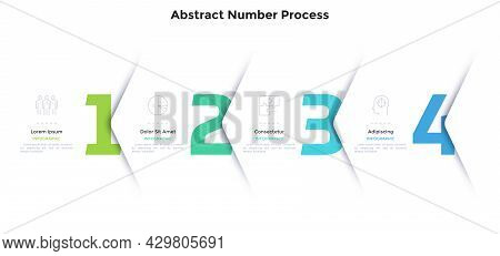 Four Numbers Or Figures Overlaid By Paper White Corners Or Arrows. Concept Of 4 Successive Steps Of