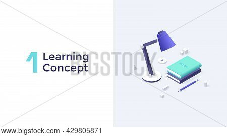 Lamp, Books And Pencil On Desk Surface. Concept Of School, College Or University Education, Knowledg