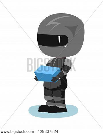 Motorcyclist In A Black Jacket And Helmet. Biker Uniform. The Courier Brought The Package. Cartoon S