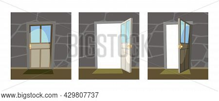 Set Of Doors With Glass. Open, Half Ajar And Locked. From Inside Of Room At Home. Stone Wall. Way Is