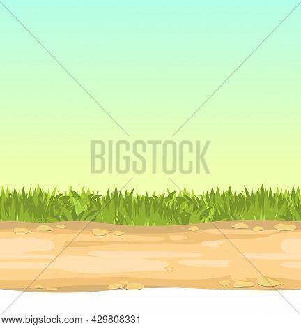 Seamless Sandy Road. Horizontal Border Composition. Summer Meadow Landscape. Juicy Grass. Rural Rust
