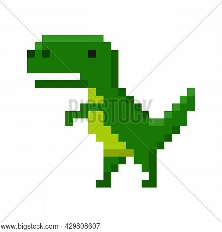 Pixel Art Of Dinosaur Icon Isolated On White Background. Big Cheerful Prehistoric Green Tyrannosauru