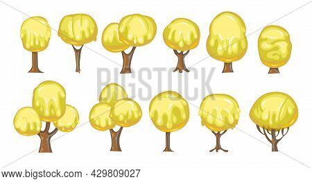Set Of Fabulous Sweet Trees. For Landscapes With Yellow Caramel, Ice Cream Or Jelly. Perspiration. C