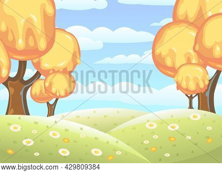 Fabulous Sweet Forest. Flows Of Yellow Cream, Jelly Or Caramel. Clouds. Trees With Chocolate Trunks.