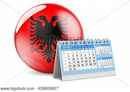 Desk Calendar With Albanian Flag. 3d Rendering Isolated On White Background