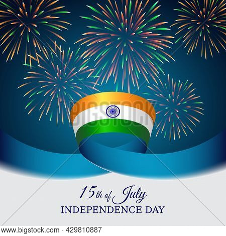 August 15, India Independence Day, Vector Template With Indian Flag And Colored Fireworks On Blue Ni