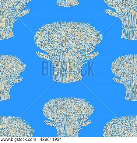 Seamless Pattern Of Drawn Yellow Sheafs Of Ripe Wheat On Blue Background