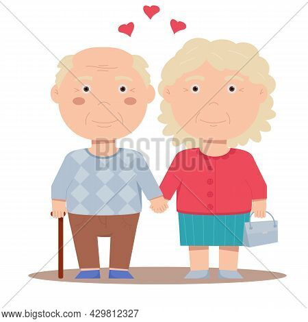 Seniors Are In Love With Each Other. Grandpa And Grandma.