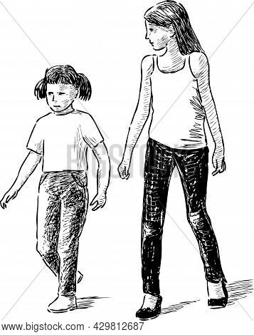 Sketch Of Two Strolling Small Sisters On Summer Day Together
