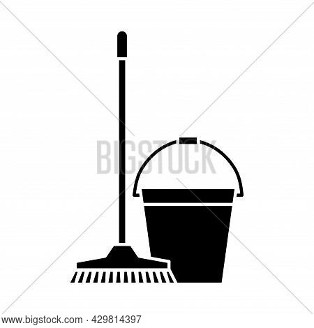 Mop And Bucket, Cleaning Icons. Washing Housekeeping Equipment Sign. Cleaning Mop With Bucket In Gly