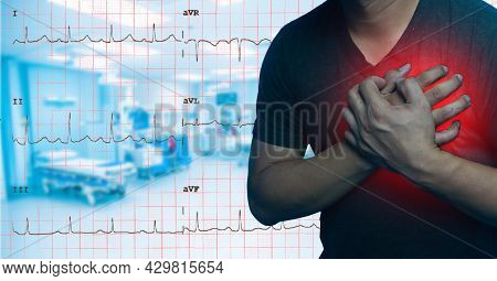 Close Up Men Have Chest Pain Caused By Heart Disease, Heart Attack, Heart Leakage, Coronary Heart Di
