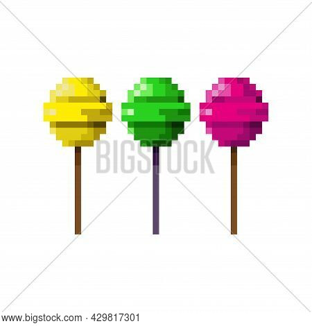 The Icon Of A Lollipop On A Stick. Three Lollipops Of Different Colors Are Made In A Pixel Style. Si