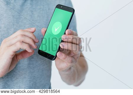 Mobile Authorization. Data Verification. Account Access. Unrecognizable Man Using Phone With Approve