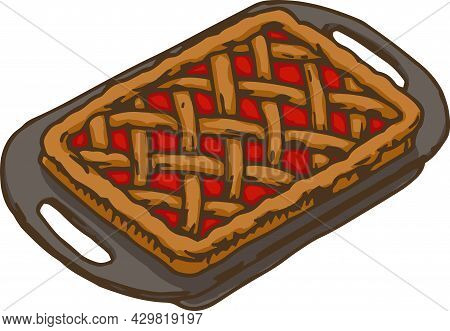 Gray Metal Baking Tray With Strawberry Cake. Vector Illustration Isolated On White