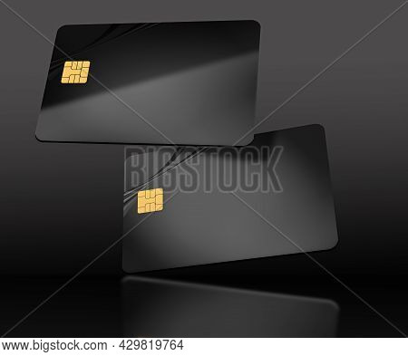 Two Black Generic Credit Cards Or Debit Cards Are Seen Floating In This 3-d Illustration.