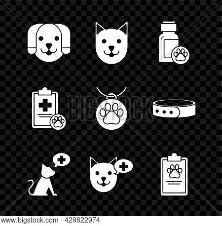 Set Dog, Cat, Medicine Bottle, Veterinary Clinic Symbol, Clipboard With Medical Clinical Record Pet,