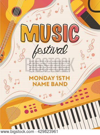 Elegant Playful Pop Rock Music Party Festival Poster In Creative Style With Modern Shapes Template D