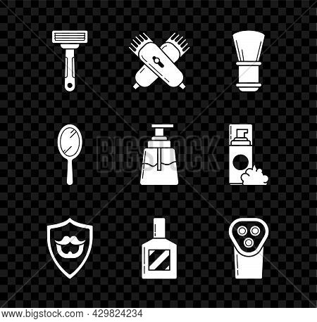 Set Shaving Razor, Crossed Electrical Hair Clipper Shaver, Brush, Mustache And Beard On Shield, Afte