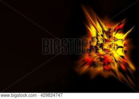 Powerful Explosion, Sharp-edged Fire Crystal, Unique 3d Image. Shallow Depth Of Field
