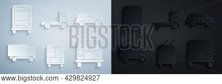 Set Trolleybus, Hatchback Car, Delivery Cargo Truck Vehicle, School Bus, And Icon. Vector