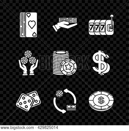 Set Deck Of Playing Cards, Hand Holding Deck, Slot Machine With Lucky Sevens Jackpot, Game Dice, Cas
