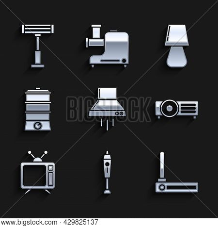 Set Kitchen Extractor Fan, Blender, Router And Wi-fi Signal, , Television, Double Boiler, Table Lamp