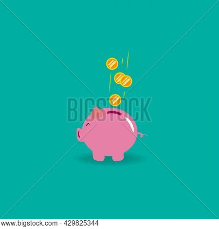 Piggy Bank Icon In Color Flat Style. Graphic Illustration. Money Box Sign. Pig Container Symbol Or B