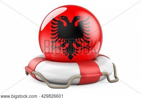 Lifebelt With Albanian Flag. Safe, Help And Protect Of Albania Concept. 3d Rendering Isolated On Whi