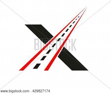 Transport Logo With X Letter Concept. X Letter Road Logo Design