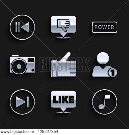 Set Hand Like, Like In Speech Bubble, Music Note, Tone, Add Friend, Fast Forward, Photo Camera, Powe