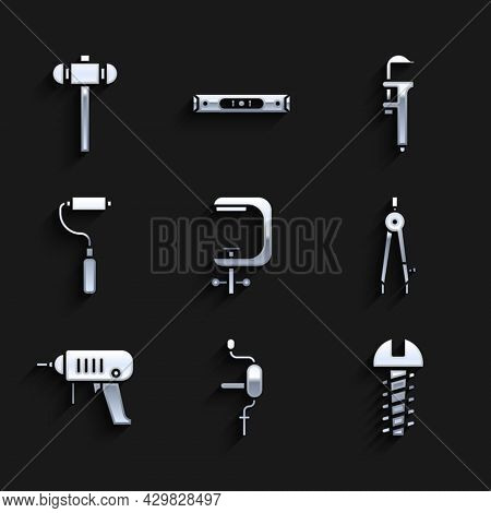 Set Clamp And Screw Tool, Hand Drill, Metallic, Drawing Compass, Electric Machine, Paint Roller Brus