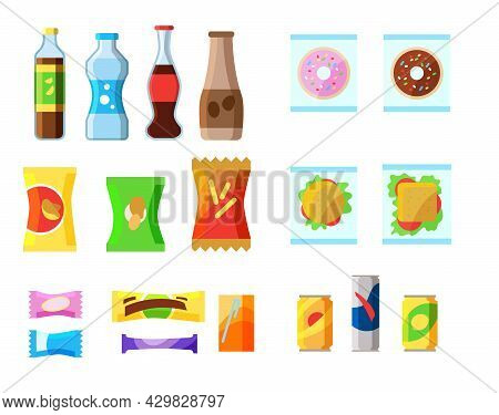 Set Of Colorful Junk Food Packages. Cartoon Vector Illustration. Chocolates, Beverages, Sweet Soda,