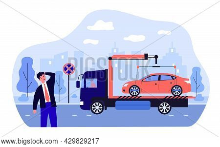 Car Evacuation Due To Violation Of Parking Rules By Businessman. Confused Owner, Tow Truck Flat Vect