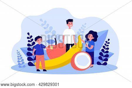 Kids Standing Next To Giant Fruits. Flat Vector Illustration. Little Boys, Girl Drinking Juice, Milk
