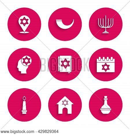 Set Jewish Torah Book, Synagogue, Wine Bottle, Calendar, Burning Candle, Orthodox Jewish Hat, Hanukk