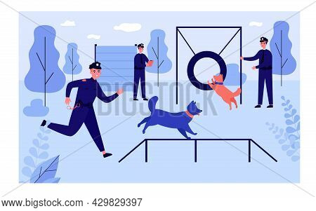 Police Officers Training Guard Dogs At Obstacle Course. Men In Uniform With Dogs Outside Flat Vector
