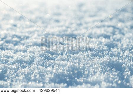 Snow Texture With Fluffy Snow In Sunny Weather, Winter Background