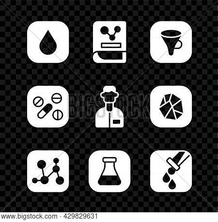 Set Water Drop, Chemistry Book, Funnel Or Filter, Chemical Formula, Test Tube And Flask, Medicine Pi