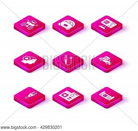 Set Electric Plug, Motherboard Digital Chip, Humanoid Robot, Soldering Iron, Robot Blueprint, Autono