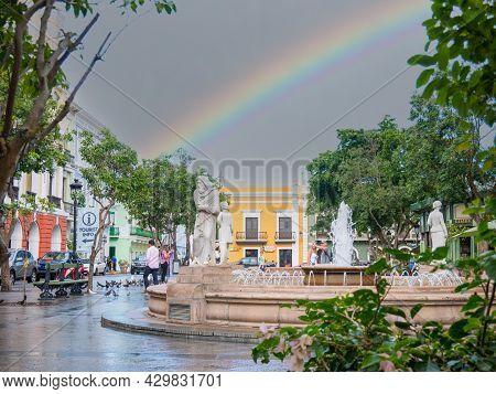 Old San Juan, Puerto Rico. January 2021. A Rainbow After A Storm.