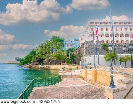 San Juan, Puerto Rico At Paseo De La Princesa On The Carribean Sea