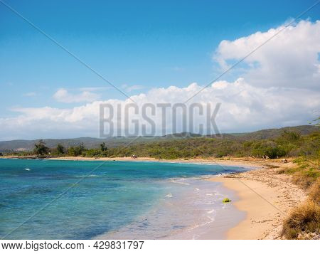 A Beautiful Day At The Beach Of Guanica Reserve In Puerto Rico