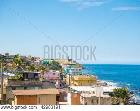 Panorama Of La Perla Slum In Old San Juan, Puerto Rico.