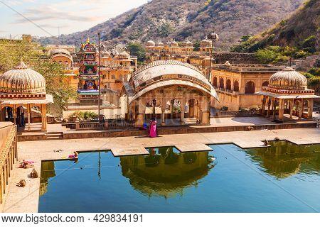 Hanuman Ji Temple, Galta Kund Aerial View, Jaipur, India.