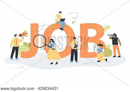 Team Of Tiny Supervisors With Searching Tools Finding Employees. Flat Vector Illustration. Giant Let