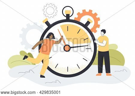 Tiny Man And Woman Moving Hands Of Giant Clocks, Stopwatch. Flat Vector Illustration. Quick Movement