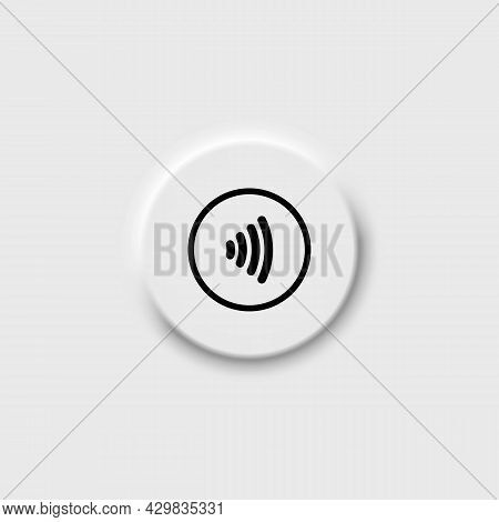 Contactless Nfc Payment Line Icon In Black. Neomorphism Button. Rfid Credit Card, Wireless Pay Minim