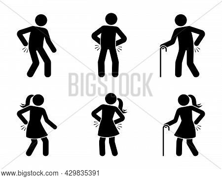 Stick Figure Man And Woman With Back Pain Icon Vector Set. Sick Stickman Having Problem With Spine,