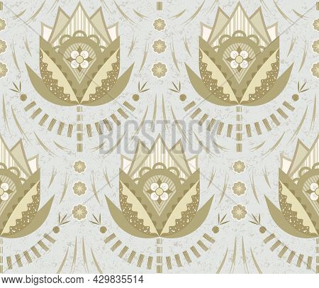 Fancy Flowers With Precise Angles,  Fluid Curves And Subtle Texture On Light Gray Background Inspire